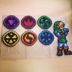 Link and the six element medallions - Ocarina of Time perler beads by smargetts