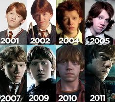 Ron Weasley through the years from Harry potter Images Harry Potter, Harry Potter Cast, Harry Potter Love, Harry Potter Universal, Harry Potter Characters, Harry Potter Fandom, Harry Potter World, Harry Potter Memes, Potter Facts