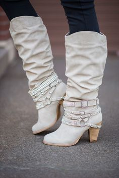 We love fall, and all the new boots each year. We have one of each color. Shhh...don't tell my husband. Shop these Cream Diamonds & Studs Boots at NanaMacs Boutique.