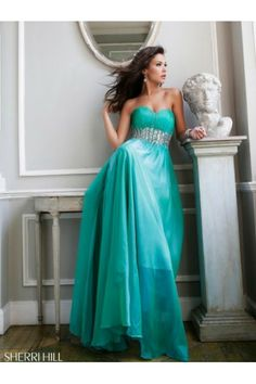 2014 Strapless Ruched Green Prom Dress by Sherri Hill 3909