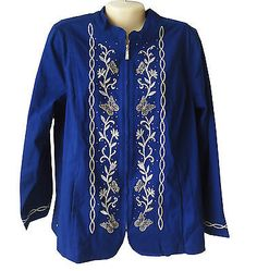 Quacker Factory Royal Blue Zippered Jacket Size L Large Embroidered Butterflies