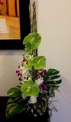 Anthurium & Purple Orchids