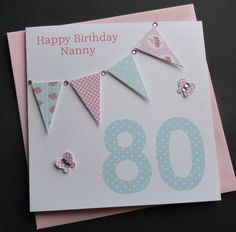 Handmade Personalised ' Bunting' 40th/ 50th 60th/70th/80th Any Age Birthday Card | eBay