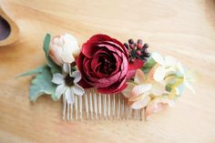 Bridal flower comb. Red rose headpiece. Bridal hair clip. Blush wedding comb. Pink floral hair comb by LArtDEva on Etsy