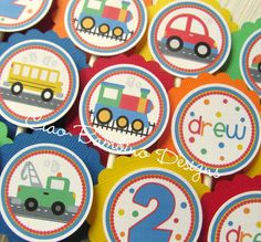 Perfect!  This matches the birthday theme I had in mind for Michael!  Yay!!! On the Move - Train, Airplane, Cars and Tow Truck, School Bus - Transportation via Etsy
