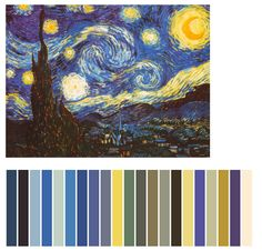 "Color Palette To Match Van Gogh ""Starry Nights"" (For Guest Room) Classe D'art, Famous Art, Web Design, Elements Of Art, Art Classroom, Vincent Van Gogh, Color Theory, Sell Your Art, Art Tutorials"
