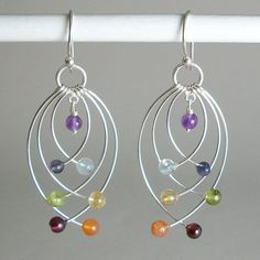 Chakra Gemstone & Sterling Silver Jewelry Balances Body, Mind & Spirit is part of Gemstone jewelry Earrings - Balance Body, Mind and Spirit by wearing Sterling Silver Gemstone Chakra Jewelry Real gemstones and Unique designs for all occasions! Wire Wrapped Jewelry, Beaded Jewelry, Silver Jewelry, Silver Ring, Handmade Jewellery, Gold Jewellery, Jewlery, Jewellery Shops, Luxury Jewelry