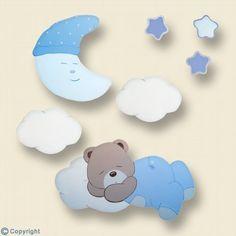 Silueta de madera personalizada: Osito durmiendo en una nube (ref. 19065-02)