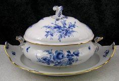 Antique Meissen Blue Flowers & Insects Porcelain Soup Tureen & Undertray - 1st Q #Meissen