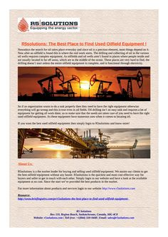 It you are Looking for Used Oilfield Equipment and Surplus for sale and rent then r5solutions is your best bet....https://goo.gl/jWNSM7