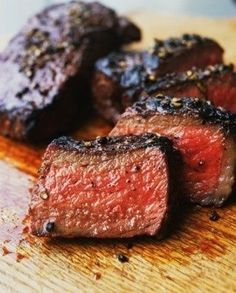 Steak marinade: 1/2 cup merlot, 1/2 cup teriyaki, 1/4 cup balsamic, 1/4 cup olive oil, 1 Tbsp Worcestershire sauce, 1 Tbsp dried rosemary (crumbled) 1 Tbsp garlic powder. Marinade up to 24 hours before (minimum 2 hours) in refrigerator. Let meat sit on counter for 30 mins before grilling. Sprinkle steak seasoning on before grilling.