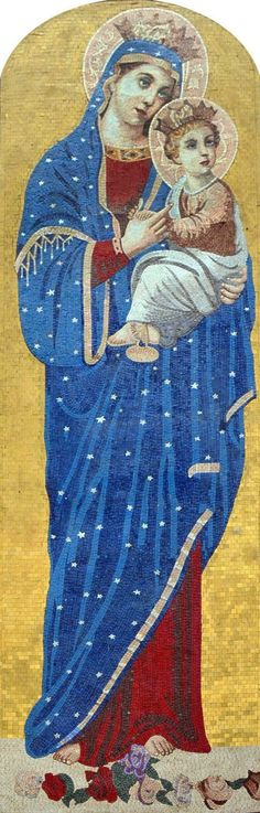 Mary And Jesus Marble Mosaic