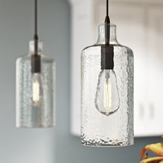 A refined take on industrial design, this mini pendant features a clear glass shade and classic Edison bulb. Hang one above your nightstand for space-saving bedside illumination, or suspend several above the bar for a stylish finishing touch. Farmhouse Pendant Lighting, Island Pendant Lights, Kitchen Pendant Lighting, Kitchen Pendants, Island Pendants, Glass Pendants, Mini Pendant Lights, Glass Pendant Light, Kitchens