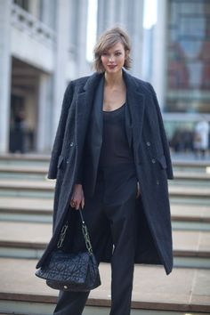 Karlie in all black layers...classic