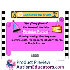 Birthday Themed Bundle for Autism: Inspired by Evan Autism Resources.