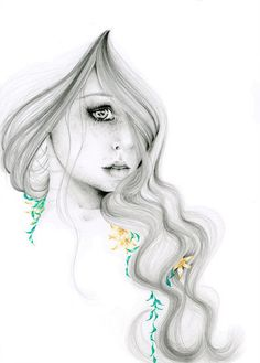 """Pencil Drawing Fantasy Art """"The Beauty Within"""" an Original Pencild Drawing  Fine art teamt"""