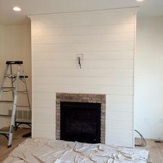 DIY Shiplap Fireplace Wall