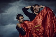 Misha Collins and Jared Padalecki playing superheroes at the 75 Years of Superman Party at San Diego Comic Con