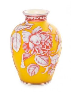 * An English Cameo Glass Vase, attributed to Webb of ovoid form, decorated with a butterfly and flowering branches. Height 7 1/2 in