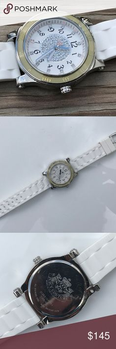 """JUICY COUTURE Women Watch White Band JUICY COUTURE Women Watch White Band jc.29.3.14.0093.4 3 ATM  Brand: Juicy Couture  Born in the Glamourous USA   Color: White ( see the photos )  Size: 6.75  The band is approximately 8"""" long and the case is around 1 1/4"""" wide. I just cleaned & installed a new battery, so it should """"tick"""" for a good while. Please see item condition and pictures for more details.  Pre-owned: used and sign of wear. working condition. working battery. no box. no paper. 100%…"""