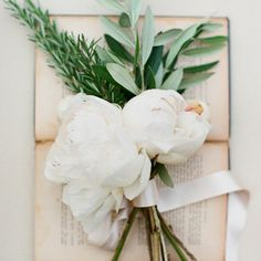 Handful of Rosemary, Olive Leaf & Cream Peonies for the aisle flowers
