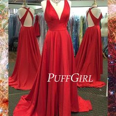 This red satin prom dress will take your breath away. It showcase the deep v neck and sexy open back . It is unbelievable prom gown ready for your 2016 prom . Fabric: Satin Silhouettes: A Line Neckline:V Neck Back Detail: Open Back Length: Floor Length Shipping time:4-5 working days