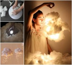 DIY Cloud Light Decoration Pull at the cotton batting until it looks fluffy,… - DIY Deko Diy Cloud Light, Cloud Lights, Diy Light, Glow Cloud, Diy Cloud Lamp, Cloud Night Light, Cloud 9, Led Diy, Diy Luz