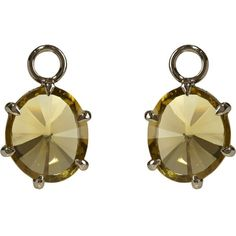 ANNOUSHKA 18ct white-gold and olive quartz earring drops ($560) ❤ liked on Polyvore featuring jewelry, earrings, olive green jewelry, white gold jewellery, loop earrings, annoushka jewelry and annoushka