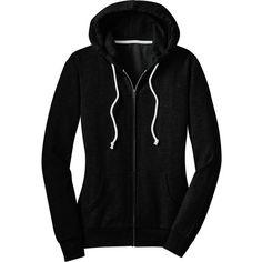 District Womens Juniors Core Blend Fleece Full Zip Hooded Sweatshirt... (33 CAD) ❤ liked on Polyvore