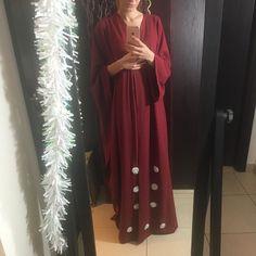 Red abaya by OC fashion design .