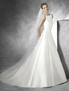 Stunning Mikado Satin A-line Wedding Dress - Tona by Pronovias