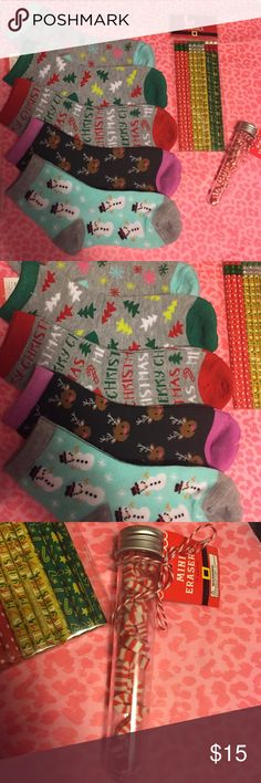 ADORABLE CHRISTMAS BUNDLE . Not VS Just for views SOCKS are adult size 9-11 .All brand new with tags PINK Victoria's Secret Accessories Hosiery & Socks