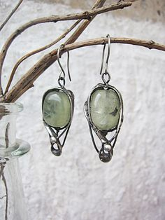 Prehnite earrings by Mary Bulanova.