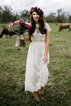 Two Piece Lace Wedding Dresses With Sleeves,Ankle Length Wedding Dress Modest Su. - Two Piece Lace Wedding Dresses With Sleeves,Ankle Length Wedding Dress Modest Source by ohhappyprintables - Best Wedding Dresses 2017, Pretty Wedding Dresses, Country Wedding Dresses, Bohemian Wedding Dresses, Modest Wedding Dresses, Maxi Dresses, Country Western Dresses, Bohemian Lace Dress, Vintage Country Weddings