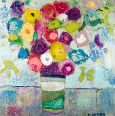"""Christy Kinard, """"Colors in the Air Everywhere"""", Mixed Media on Panel, 36x36 - Anne Irwin Fine Art"""