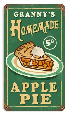 Vintage and Retro Wall Decor - JackandFriends.com - Vintage Granny's Apple Pie Metal Sign, $35.97 (http://www.jackandfriends.com/vintage-retro-grannys-apple-pie-metal-tin-sign/)                                                                                                                                                      More