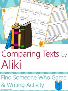 "Aliki Author Study activities: ""Find Someone Who Has Read"" game and comparison contrast writing activity about Aliki's books! Fun opening or closing activity for an author study-- aligned to Common Core! TONS of other author studies in this store! #Teachering"