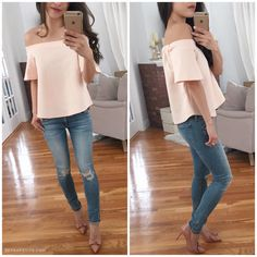 boohoo petite off shoulder top rag bone murray jeans, Ann Taylor heels.