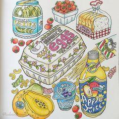 Vintage My Roomよりキッチンのページ'٩꒰。•◡•。꒱۶' * 食べ物を塗るのが楽しかったー♡ * …けど、パッケージやラベルはセンスが問われる(・_・; * 難しい〜 でもこの本、楽しい(≧▽≦)♬*゜ * * #塗り絵#大人の塗り絵#コロリアージュ#油性色鉛筆#coloring#coloriage#ホルベイン#ポリクロモス#holbein#polychromos#vintagemyroom#韓国の塗り絵 no.47