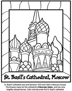 color the picture of St. Basil's Cathedral was built between 1555 and 1560 in Moscow, Russia. The Russian name for the cathedral is Pokrovsky Sobor. The cathedral has nine brightly colored domes. Russian Culture, Russian Art, Printable Coloring Pages, Coloring Pages For Kids, Coloring Sheets, Coloring Book, Documents D'art, Saint Basile, Zentangle