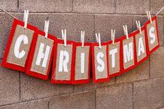 Burlap Bunting Christmas Decoration via @Celebrations.com Homemade Christmas, Diy Christmas Gifts, Simple Christmas, Holiday Crafts, Christmas Holidays, Christmas Ornaments, Christmas Ideas, Christmas Things, Rustic Christmas