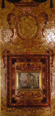Pannel in Amber Room at Katharine Palace, Saint Petersburg, Russia