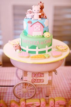Mosey on over to check out the pink barnyard birthday party at Kara's Party Ideas. With the most adorable barnyard party ideas, you don't want to miss it! Farm Birthday Cakes, Birthday Cake Girls, 1st Birthday Parties, Happy Birthday, 2nd Birthday, Birthday Ideas, Birthday Banners, 1st Birthdays, Birthday Invitations