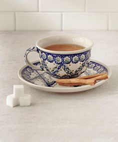 Another great find on #zulily! Blue Lattice Cup & Saucer by Lidia's Polish Pottery #zulilyfinds
