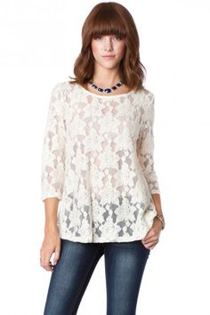 Lotus Lace Open Back Top in Ivory - love the lotus pattern! it will be perfect over another top/blouse for cooler weather