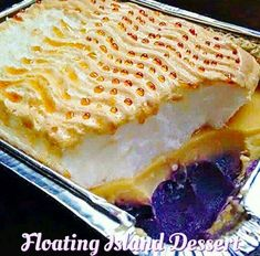 Floating Island (Filipino Style) is a layer of leche flan, purple yam and topped… Floating Island (Filipino Style) is a layer of leche flan, purple yam and topped with meringue frosting like brazo de mercedes. This is an ultimate 3 in 1 dessert! Filipino Dishes, Filipino Desserts, Filipino Recipes, Filipino Food, Pinoy Food, Pinoy Dessert, Cuban Recipes, Paskong Pinoy, Filipino Appetizers