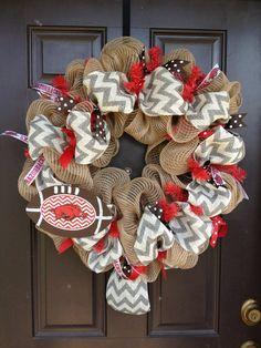 Razorback Football Chevron Burlap Wreath by CoutureCreationsAR