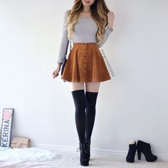 Flare skirt outfit, knee socks outfits, cute skirts, school outfits, a Shorts Outfits For Teens, Knee Socks Outfits, Cute Skirt Outfits, Teen Fashion Outfits, Cute Skirts, Short Outfits, Cute Fashion, Look Fashion, Trendy Outfits