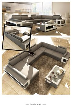 Grey and white leather sectional sofa w/ coffee table features a durable long-lasting construction. Perfect for Big home and Movie time with the family.