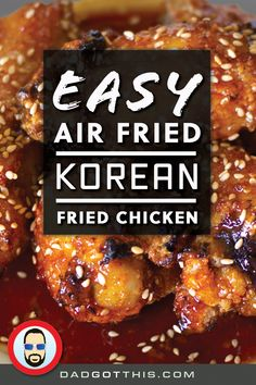 Korean Fried Chicken wings are super crispy then coasted in a sweet and spicy sauce & sesame seeds. This is one of the best ways you can eat and make wings hands down! Dad uses his Air Fryer Lid and Instant Pot to make these! Quick Chicken Recipes, Spicy Recipes, Pork Recipes, Asian Recipes, Appetizer Recipes, Fried Chicken Nuggets, Crispy Chicken Wings, Popular Korean Food, Sweet And Spicy Sauce
